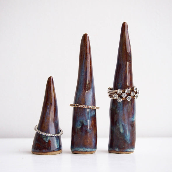3 sizes blue brown ceramic ring cones
