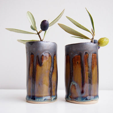 Handmade mini brown blue metallic ceramic vase