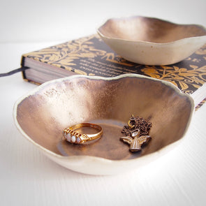 Handmade gold  ceramic ring dish