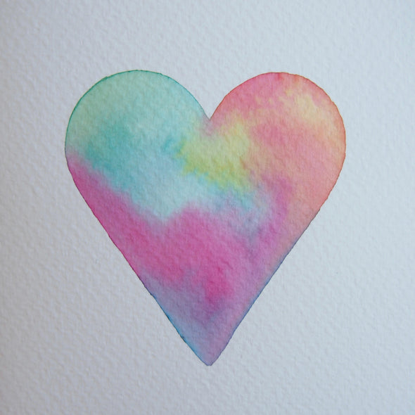 Original pastel heart card