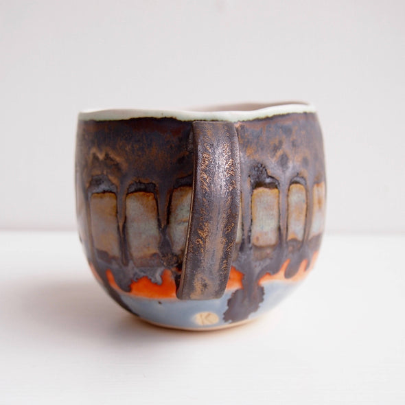 Handmade made to order  ceramic mug with gold