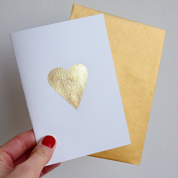 Gold leaf heart card and gold envelope
