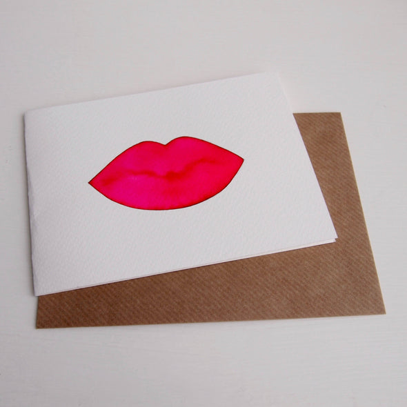 Original watercolour lips greetings card