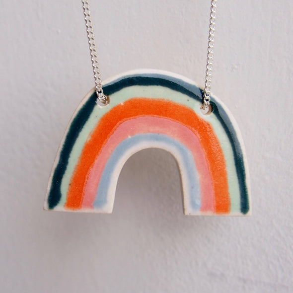Handmade ceramic rainbow necklace