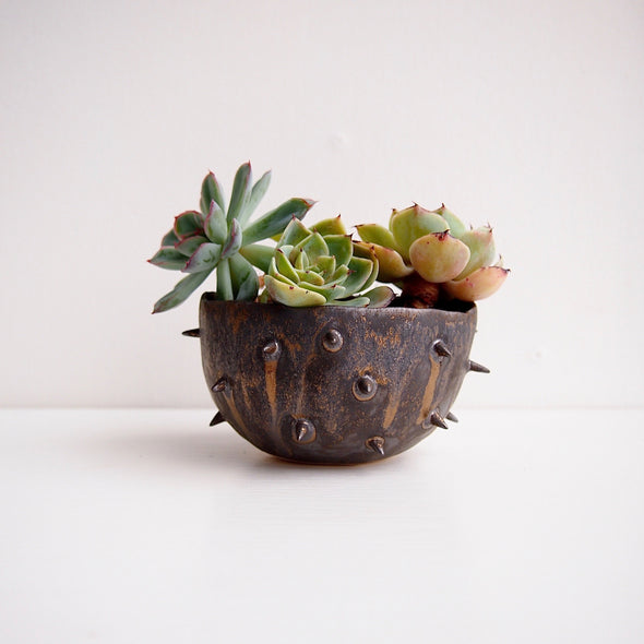Handmade spiky gold black  ceramic planter bowl
