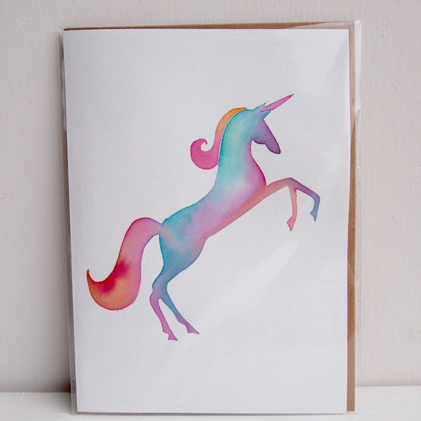 Unicorn pastel  watercolour greetings card