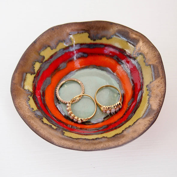 Sunset ceramic ring dish.