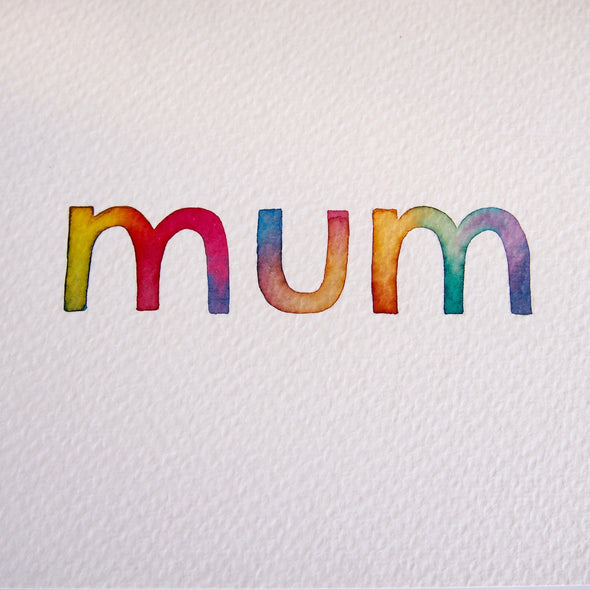 Watercolour card for mum