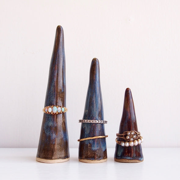 three sizes dark blue brown ceramic ring cones