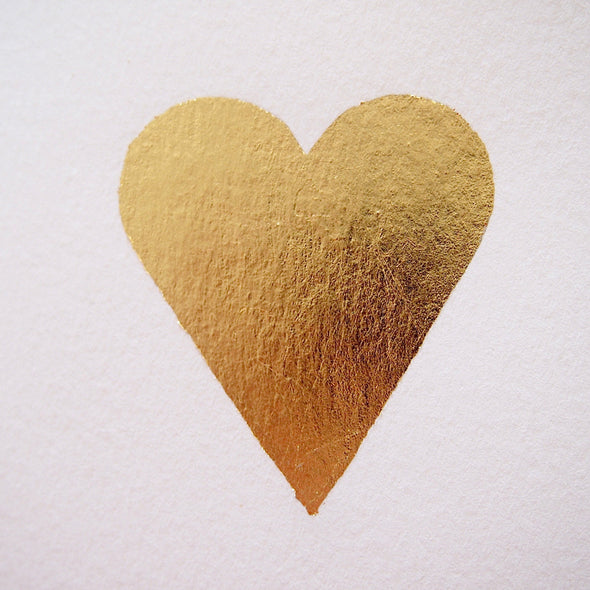 Gold leaf heart card detail