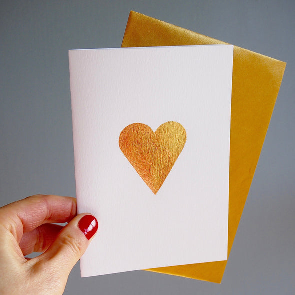 Gold leaf heart card