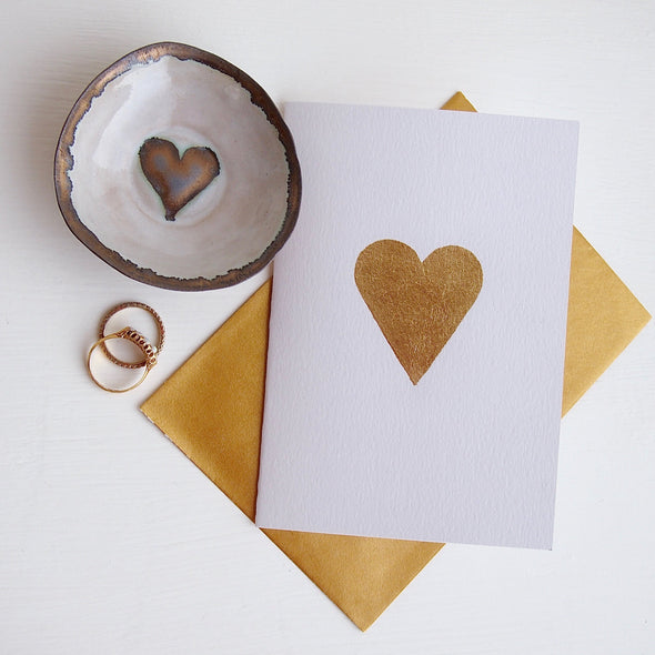 Gold leaf heart card and gold dish