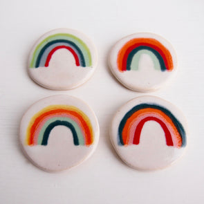 Handmade Rainbow ceramic pin brooch