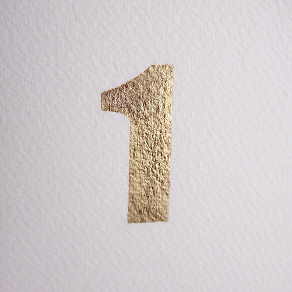 Gold leaf handmade 1st birthday / anniversary card