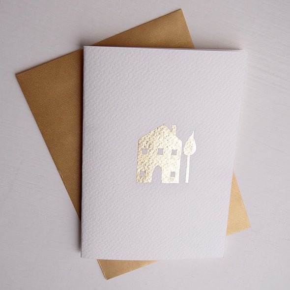 Gold leaf handmade new home card