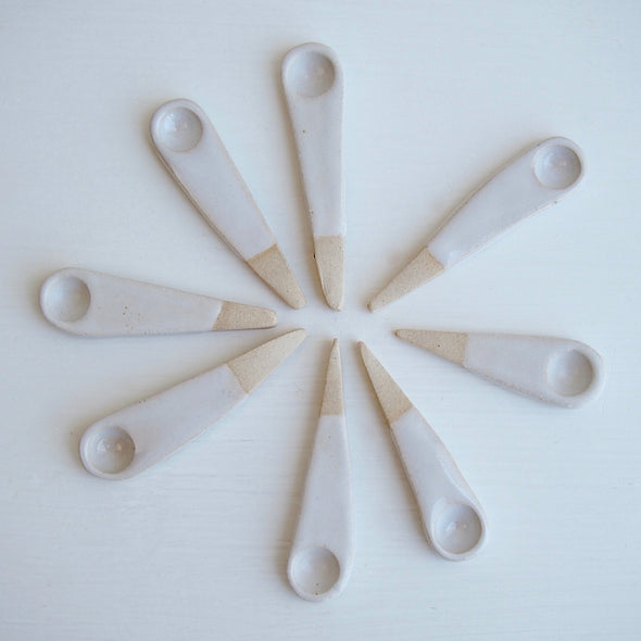 mini white pottery spoons