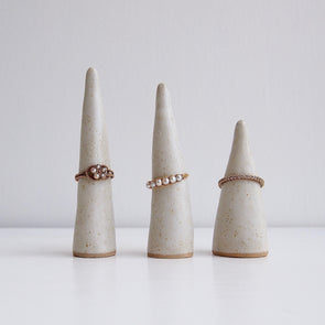 Handmade oatmeal satin pottery ring cone