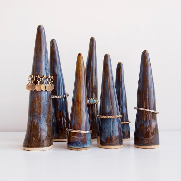 blue brown ceramic ring cones