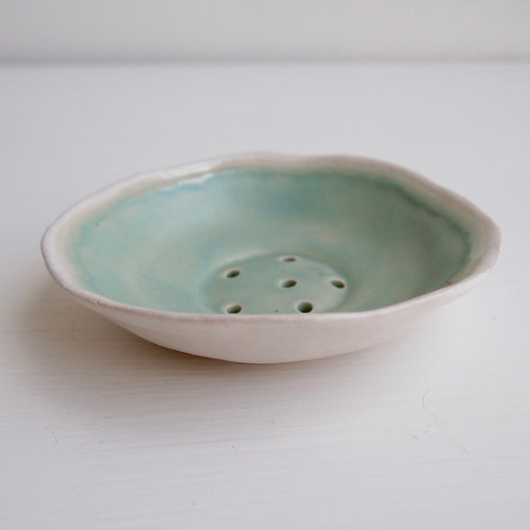 Handmade turquoise green satin mini ceramic soap dish