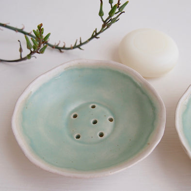 Handmade turquoise blue satin mini ceramic soap dish