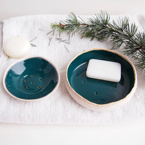 Handmade teal green ceramic soap dish