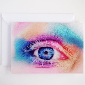 Rainbow eye make up birthday card
