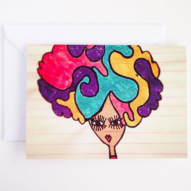 Rainbow afro hair girl birthday card
