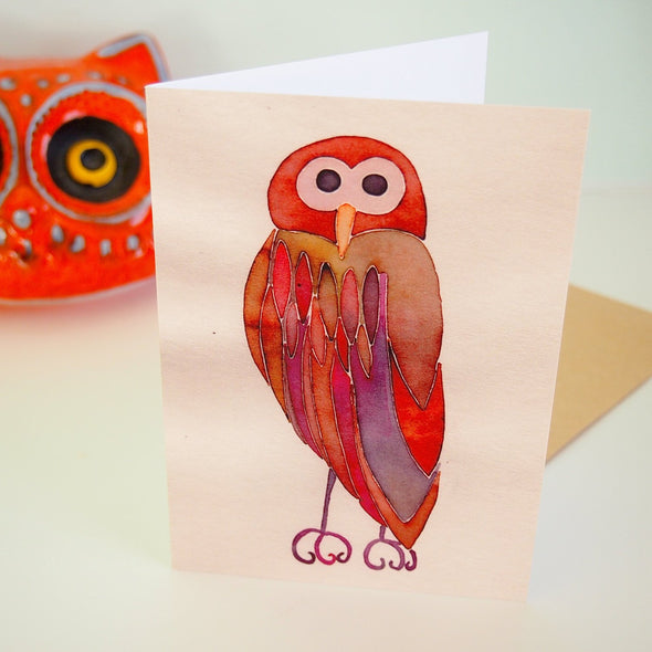 Brown owl greetings card with envelope