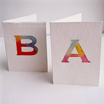Personalised initial letter watercolour birthday card