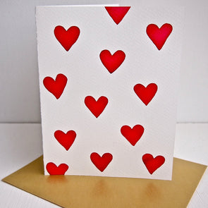 Many love hearts watercolour Valentines card