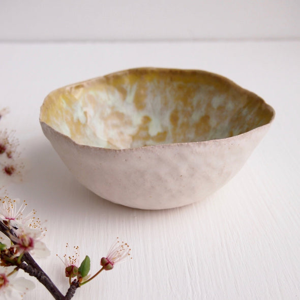 Handmade Ceramic textural  yellow  ring bowl.