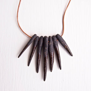 Black ceramic arrowhead necklace