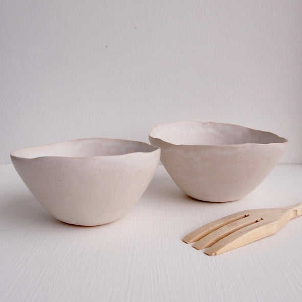 Handmade simple white satin pottery cereal bowl