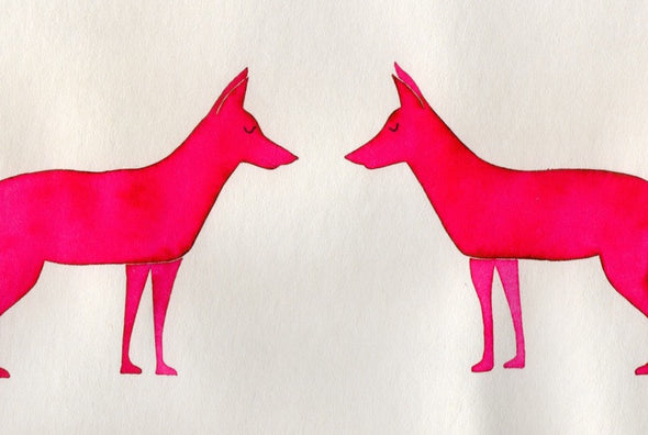 pink neon fox animal watercolour  greetings card at Kabinshop .