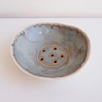mini blue brown pottery soap dish