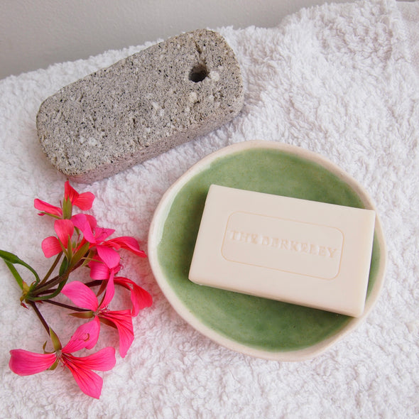 celadon green mini soap dish with soap