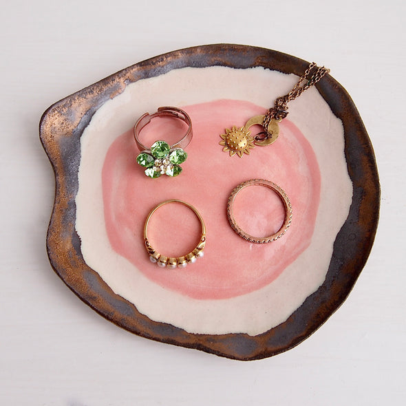 Handmade pink and gold fried egg ceramic ring dish