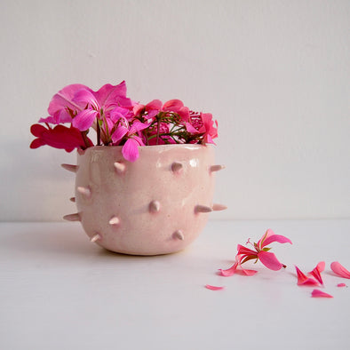 Handmade pink gloss ceramic spiky planter bowl