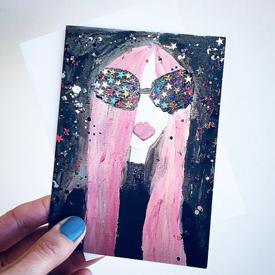 girl with pink hair and starry eyes birthday card