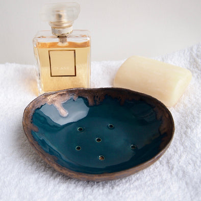 teal and gold oval soap dish