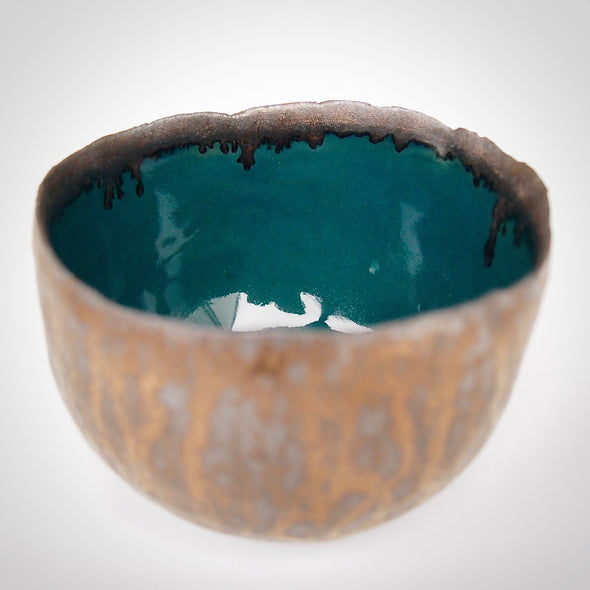 Teal and gold pottery ring bowl