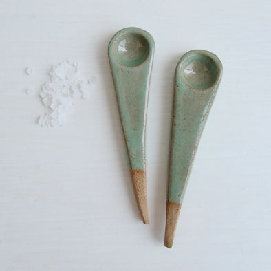 Handmade mini pottery turquoise green salt spoon