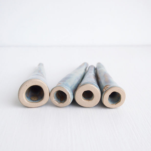 Inside of blue brown ceramic ring cones