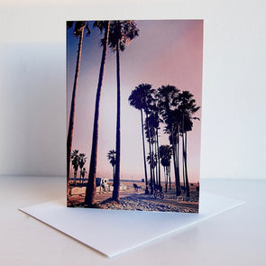 sunset on venice beach california card