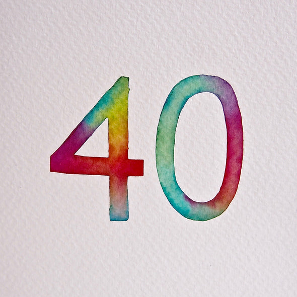 Hand painted 40th birthday watercolour / special age card
