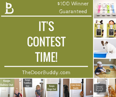 Door Buddy Launch Contest on Facebook. Adjustable Door Strap for Baby and Dog Proofing.