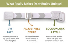 Door Buddy Baby Proof Door Lock and Adjustable Strap