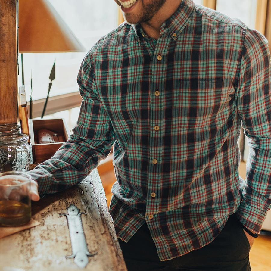 Washed Seasons Plaid Button Down Shirt - Teal/Navy