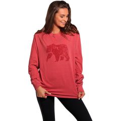 Boyfriend Long Sleeve Bear T - Crimson