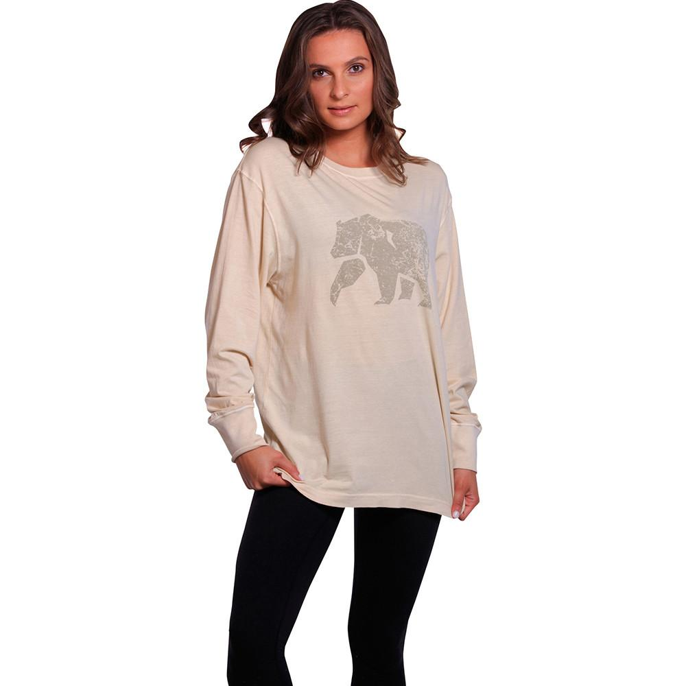 Boyfriend Long Sleeve Bear T - Stone